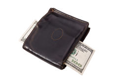 Old wallet and a hundred bucks. Royalty Free Stock Images