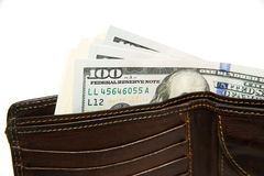 Old Wallet With Banknotes Of US Dollars Inside Stock Image