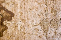 Old Wallpaper 03. Texture of old wallpaper on hesian Royalty Free Stock Photography