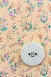 Old wallpaper with light switch Royalty Free Stock Image
