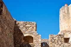 Old walls. Blue sky, old walls, old houses, the ruins Stock Photography