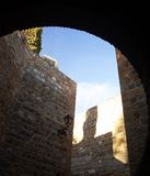 Old walls. In Toledo castle (spain Royalty Free Stock Image