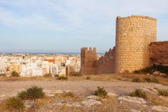 Old walls in Almeria. And city panorama. Almeria, Andalusia, Spain Stock Photos