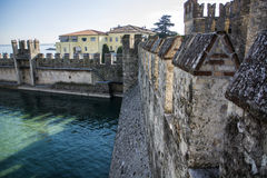 Old walls around Sirmione, italian town on Lake Garda Royalty Free Stock Photography