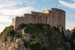 Old castle on top of hill in dubrovnik croatia. Old walls and castle on top of hill in dubrovnik croatia royalty free stock photos