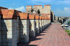 Old walls of Constantinople near Yedikule fortress in Istanbul, Turkey Stock Photography