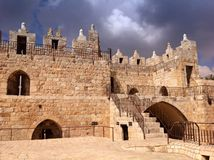 Old walls by Damascus Gate in Jerusalem. Architecture, ramparts walk, destination, tourism, scenic, walking Royalty Free Stock Photography