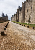 Old walls fortified of Carcasson castle, France Royalty Free Stock Images