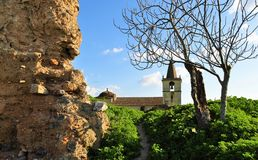 The old walls of the fortress with a leafless tree and an old church walls. Photo of the old and abandoned walls of the fortress with a leafless tree and an old royalty free stock photo