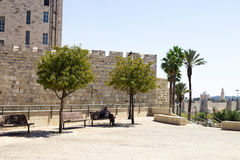 Old walls of Jerusalem near the Jaffa Gate Stock Images