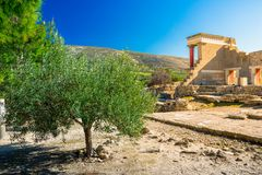 Old walls of Knossos near Heraklion. Royalty Free Stock Images