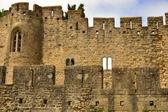 Old walls of the medevial fortress of Carcassonne Royalty Free Stock Photo