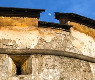 Old walls and moon. At Orava castle, Slovakia royalty free stock image
