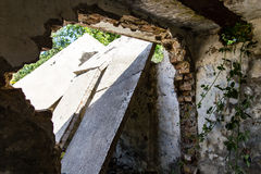 Old walls on the ruins of the house Stock Photography