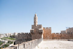 Old walls walk in Jerusalem Royalty Free Stock Photos