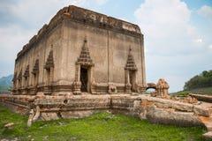 Old Wang Wiwekaram temple the underwater temple. Stock Photos