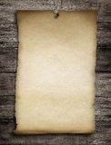 Old wanted paper or parchment pinned by nail to wooden wall Royalty Free Stock Photography