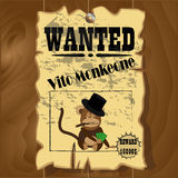 Old wanted poster with a picture of the crime monkey Royalty Free Stock Image