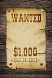 Old wanted sign. Royalty Free Stock Photo
