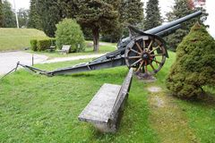 Old war cannon used in world war Royalty Free Stock Photo