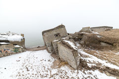 Old war fort ruins on the beach Stock Images