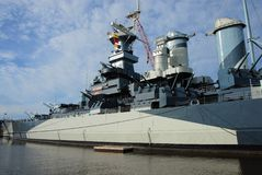 Old war horse. An old world war two battleship converted to a museum Royalty Free Stock Photo