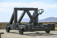 Old War wooden catapult in Sardinia stock photos
