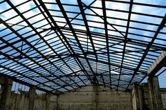 Old Warehouse. Old broken warehouse with damaged roof Royalty Free Stock Image
