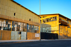 Old warehouse buildings. View of old, abandoned warehouse buildings Royalty Free Stock Image