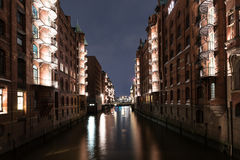 Old warehouse district Speicherstadt in Hamburg at night Royalty Free Stock Photography