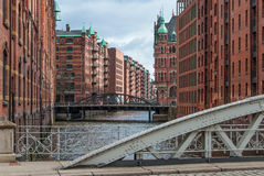 Old Warehouse District in the harbor of Hamburg 10 Royalty Free Stock Image