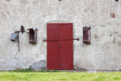 Old warehouse  door. Old warehouse red door with lock Royalty Free Stock Photography