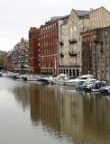 Old warehouse and new appartments on Bristol waterfront with smart boats Stock Images