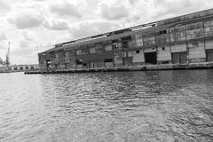 Old Warehouse Over Water in Havana, Cuba Stock Images