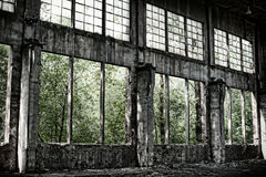 Old  warehouse in retro style. Old factory, abandoned place in Poland Stock Photo