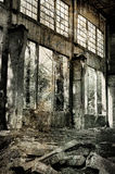 Old warehouse in retro style. Old factory, abandoned place in Poland Royalty Free Stock Photography