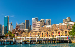 Old warehouses at Campbell`s Cove Jetty in Sydney, Australia Stock Photo