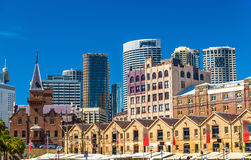 Old warehouses at Campbell`s Cove Jetty in Sydney, Australia Stock Photos