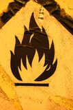 Old warning sign for flammable liquid background 2. Old warning sign on vehicle with tank for flammable liquid background. Transportation of flammable and Stock Photography