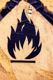 Old warning sign for flammable liquid background 4. Old warning sign on vehicle with tank for flammable liquid background. Transportation of flammable and Stock Image
