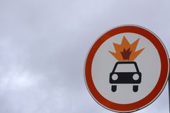 Old warning sign on vehicle with tank for flammable liquid background. Transportation of flammable and combustible liquids. Color. Effect stock photography