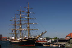 Old warship. In harbor of Copenhagen stock photos