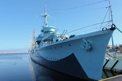 Old warship from second world war. In the Gdynia harbour Royalty Free Stock Photo