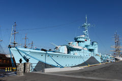 Old warship from second world war. In the Gdynia's harbour Royalty Free Stock Image