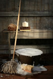 Old Wash Bucket With Mop And Brushes Royalty Free Stock Photos