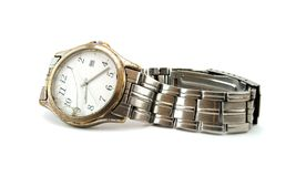 Old watch. Shabby watch on white background royalty free stock photo
