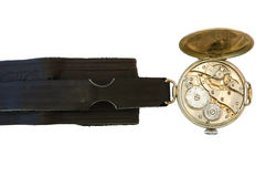 Old watch. Old watch with open other side (clockwork) on overwhite background stock images