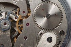 Old watch. The device. The internal mechanism of watch - a photo close up Stock Image