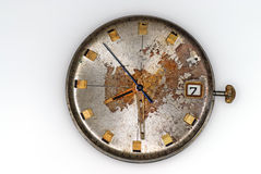 Old Watch. Dial is covered by a rust and scratched Royalty Free Stock Photography
