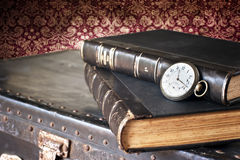 Old watch and books Royalty Free Stock Images